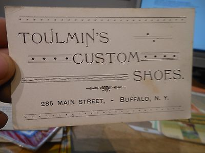 Toulmin's Custom Shoe Store Buffalo new York Vintage Old Advertising Card Main