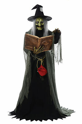 Spell Speaking Witch Prop Animated Halloween Lifesize Haunted House 6 ft Talking