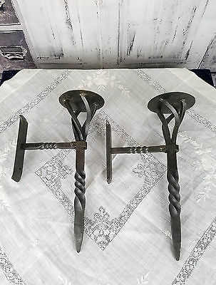 """Set of 2  Forged Steel Wall Candle Sconces Old World Viking Medieval 14 1/2"""""""