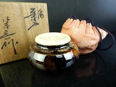 C2082: Japanese Kiyomizu-ware Seto glaze TEA CADDY Chaire, Oketani Teiichi made