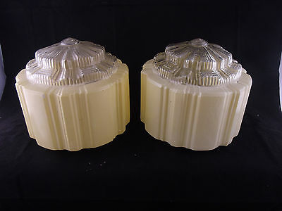 Pair Genuine Vintage Art Deco Yellow  Glass Light Shades