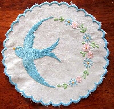 Vintage Bluebirds of Happiness Hand Embroidered Doily