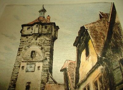 Antique Original Drawing of Witches Tower  in Germany, signed outstanding