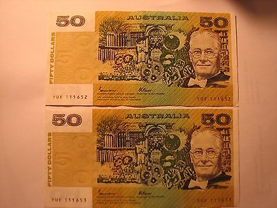1988 $50 Johnston/Fraser Consecutive Banknotes First Prefix YUE series - OCR-B.