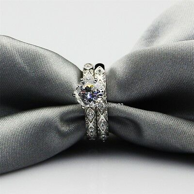 Ladies 14K White Gold 1.32 Ct Round Diamond Bridal Set Wedding Engagement Ring