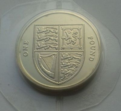 UK One Pound (£1) 2014  - The Last Round Royal Shield of Arms Uncirculated