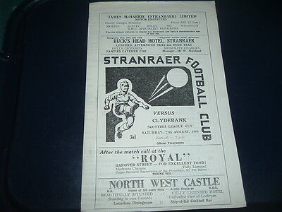Stranraer v Clydebank Aug 1966 League Cup