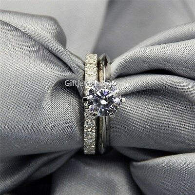 14K White Gold 1.30 Ct Solitaire Diamond Engagement Ring Wedding Band Bridal Set