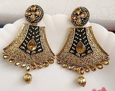 New Ethnic Indian Bridal Party Gold Black Tone Metal Gold Earrings Pair