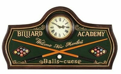 Wooden Billiard Academy Clock Pub Sign 3D Art with FREE shipping
