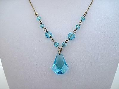 Feminine Edwardian/Deco Aqua Blue Crystal Drop Necklace