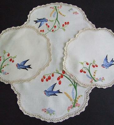 Beautiful Hand Embroidered 3 Piece Duchess Set - Blue Birds - Crocheted Edgings