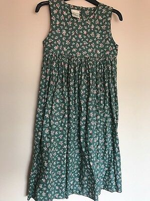 Laura Ashley Mother&child Age 9yrs Cotton Vintage Dress Green Pink Floral