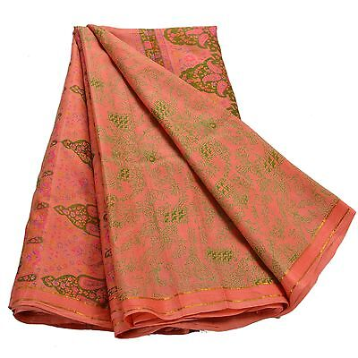Sanskriti Vintage Printed Ethnic Saree 100% Pure Silk Craft Peach Fabric Zari