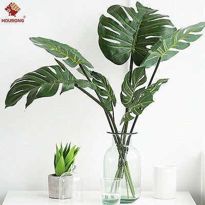 12Pcs ARTIFICIAL Monstera BRANCH TREE SPRAY FAKE TURTLE LEAVES PLANT FAUX Leaf