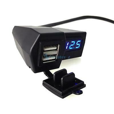 Motorcycle Handlebar mount 3.1A Motorcycle Dual USB Phone Charger & Voltmeter