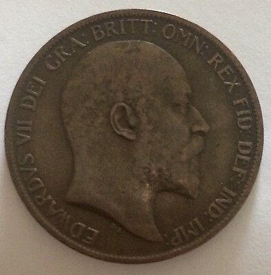 1902 Penny F/VF. Edward VII. Very Collectable. Uk Sales Only.