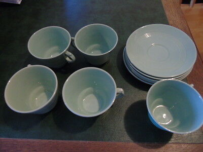 Woods Ware Beryl England Green Cups And Saucers (5 Cups) (6 Saucers) Free Post