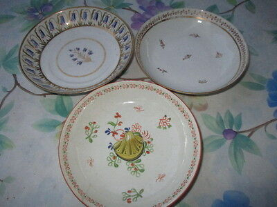 3 GEORGIAN EARLY VICTORIAN DEEP BOWL TEA SAUCERS HAND PAINTED as found