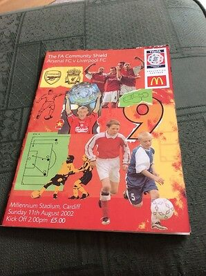 FA Community Shield Final Programme 2002 Arsenal v Liverpool