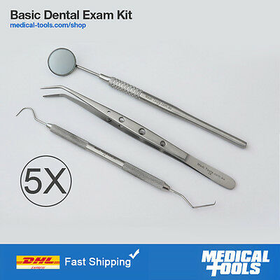 Basic Dental Exam Kit, Examination, Probe, Tweezers, Mirror, Premium Quality