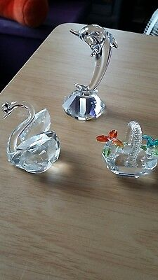 3 Crystal Glass Ornaments