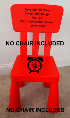 Time Out Chair Vinyl  Decal  Naughty Chair GIRL BOY KIDS ****STICKER ONLY****