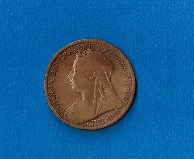 1899 British GB Queen Victoria ONE PENNY - VERY COLLECTABLE end of century coin