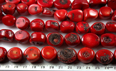 RD028 - Red Coral Nugget Beads - Dyed Red - 16-20x14-18mm x 1 strand - 104g