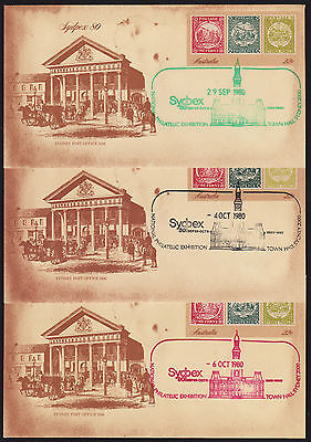 1980 Sydpex 80 Pre-Stamped Envelope Town Hall Sydney green, black & red cancel
