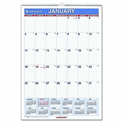 "AT-A-GLANCE Wall Calendar 2017, Monthly, 12 x 17"", Ruled, Wirebound PM2-28"