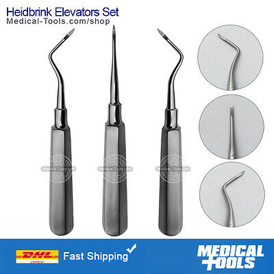 Heidbrink Elevator Set, Dental, Left, Right, Straight, Root Tip Pick, Premium
