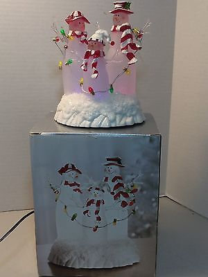 "Jcpenney Home Collection 7"" Light Up Acrylic Snowman Family In Box Color Changin"