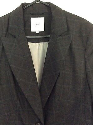 Ladies Grey/Brown Checked Jacket Trouser Suit Size 12 Regular Brand New NEXT