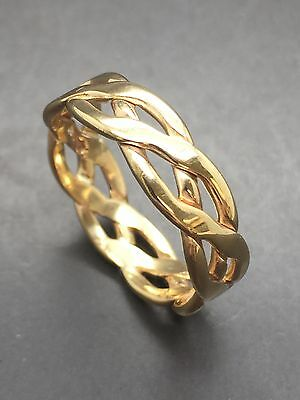 9ct Yellow Solid Gold Celtic Wedding Band - 5.7mm