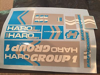 Old school BMX Haro RS3 Group 1 stickers for blue / gray frame fork bars decals