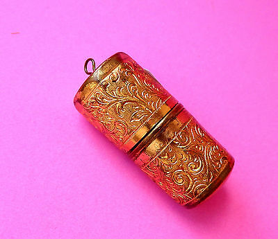 Vintage Ornate Octagonal Brass Travel Sewing Thimble  Holder