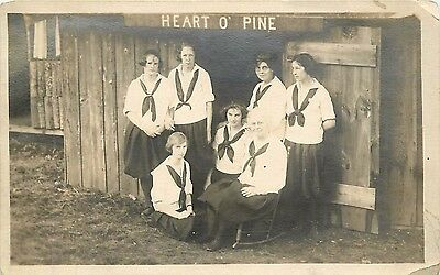 Camp Ohuivo - Oxford - ME Maine - 1921 real photo -  Heart 'o pine -  6437