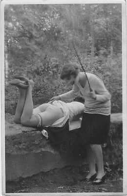 French NUDE real photo postcard circa 1920 CP501 Spanking