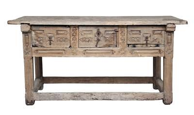 17Th Century Spanish Carved Chestnut Serving Table
