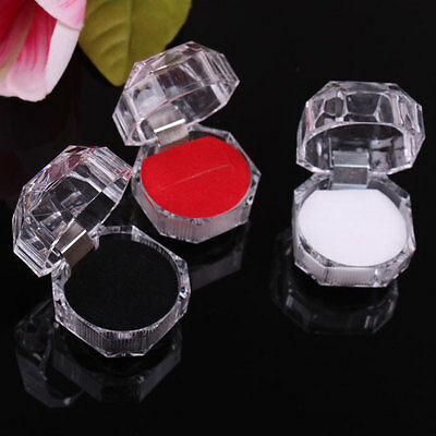 Clear Acrylic Crystal Ring Box Earring Storage Display Case Organizer Jewelry