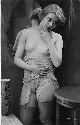 French NUDE real photo postcard circa 1920 BIEDERER Flesh coloured CP131