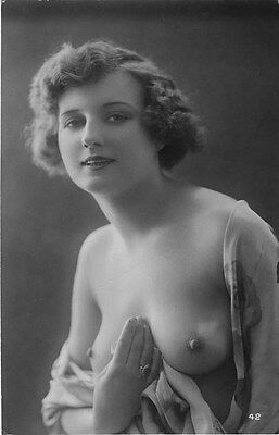 French NUDE real photo postcard circa 1920 BIEDERER Flesh coloured CP454