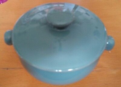 Denby Sage Green (Elements?) Stoneware Pot With Lid - Small Individual Size