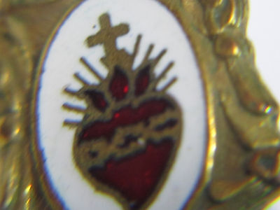 † Vintage Nun's Sacred Heart Guilloche Enameled Colorful Gold Pin / Brooch †