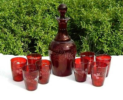 Czech Bohemian Decanter 8 Shot Tumblers Ruby Red Grapes Leaves Glass