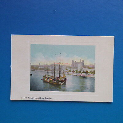 Old Postcard of The Tower from River, London.
