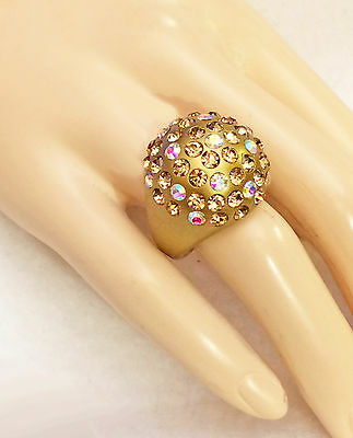 Gold Lucite Acrylic Rhinestone Dome Ring Topaz Color / AB Aurora  *USA*Gift Box