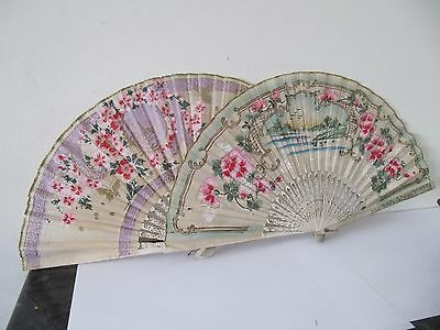 2 Vintage Paper Fans Japanese Style Butterfly, Pagoda & Flowers