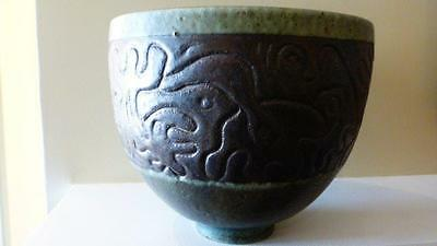 Exceptional Large Scheier Sgraffito Pottery Bowl 8 X 9 inches